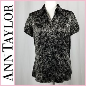 Ann Taylor Short Sleeve Button Down Blouse